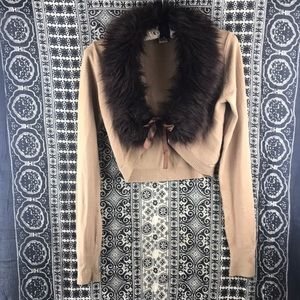 Guess Faux Fur Collared Knit Shrug